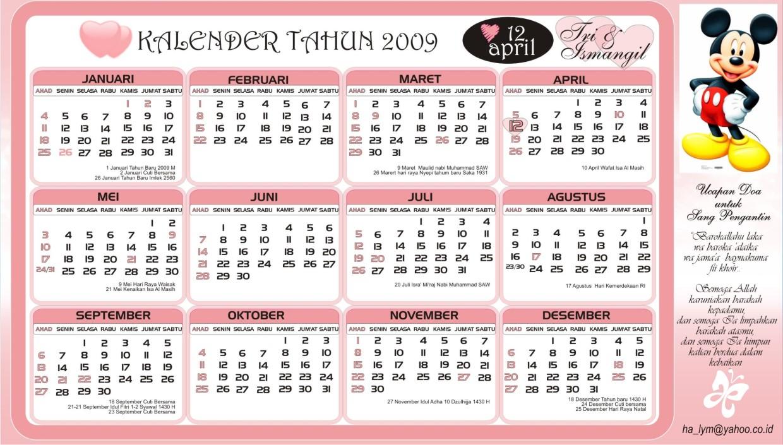 Kalender 2009 lengkap dengan hari libur nasional