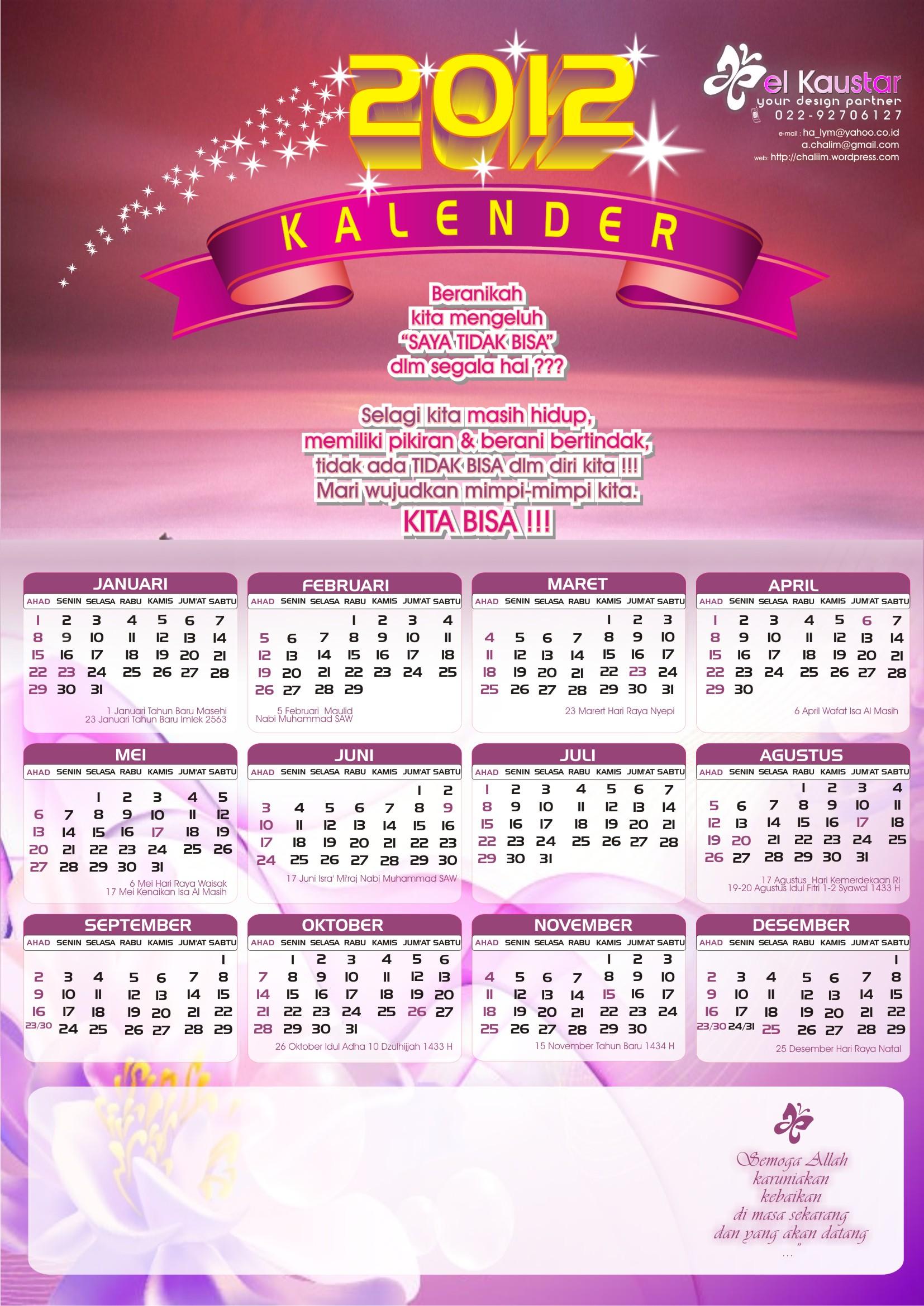 ... lengkap dg hari libur- SKB 3 Menteri – kalender kata-kata motivasi