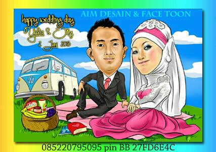 Undangan Pernikahan Karikatur Pengantin