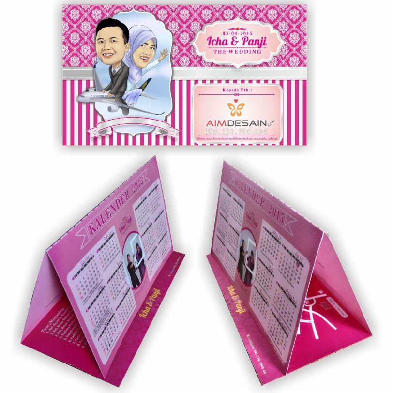 Undangan Kalender Meja Softcover Pink
