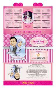 Undangan Kalender Softcover Pink Karikatur