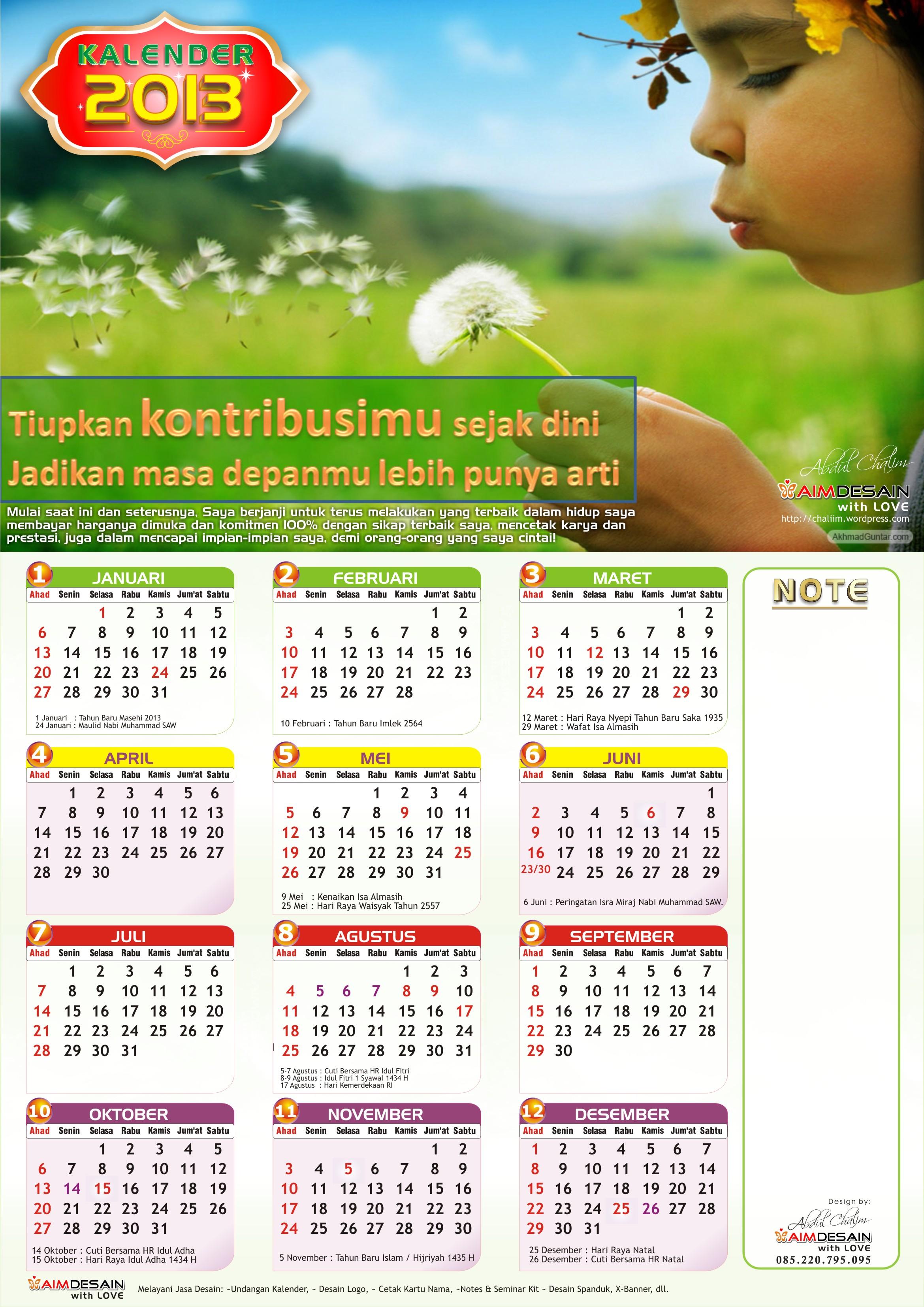 Kalender 2013 Lengkap dengan Hari Libur & Cuti Bersama