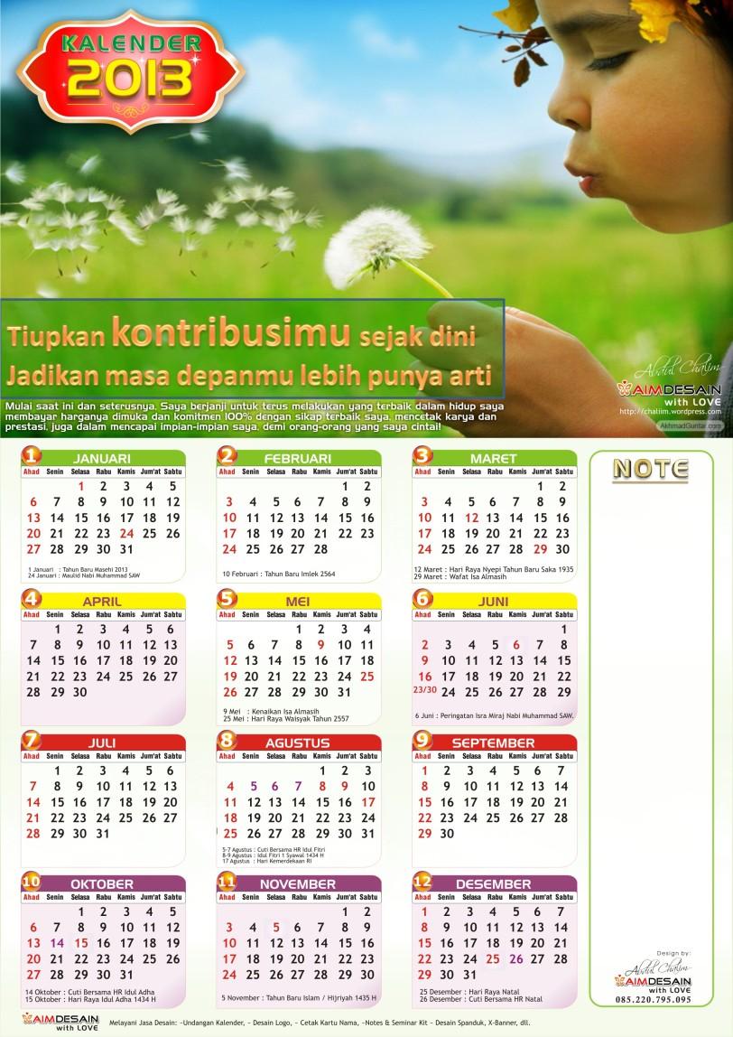 Kalender 2013 kombinasi warna hijau
