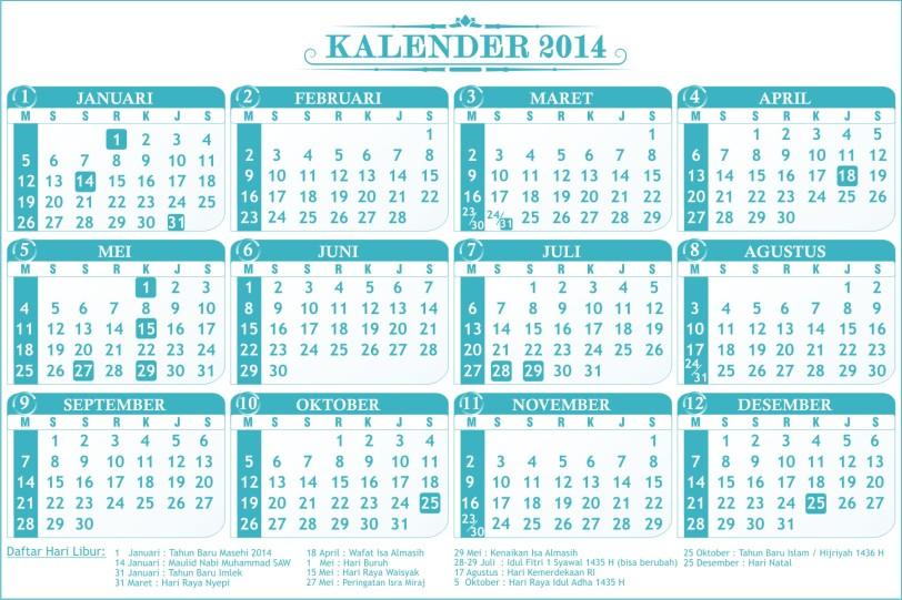 Kalender 2014 Warna Biru Tosca