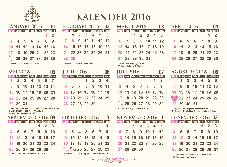 Kalender 2016 Dan Hari Libur Nasional | Contoh Undangan Pernikahan ...