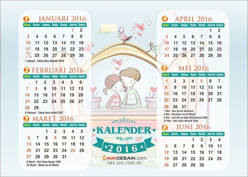 Kalender 2016 Januari-Juni