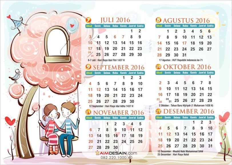Kalender 2016 Juli-Desember